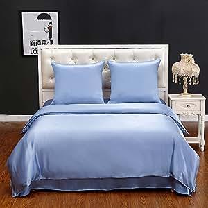 Lilysilk juego de cama de seda natural 1 x funda de edred n 1 x s bana bajera 2 x funda de - Edredon de seda ...