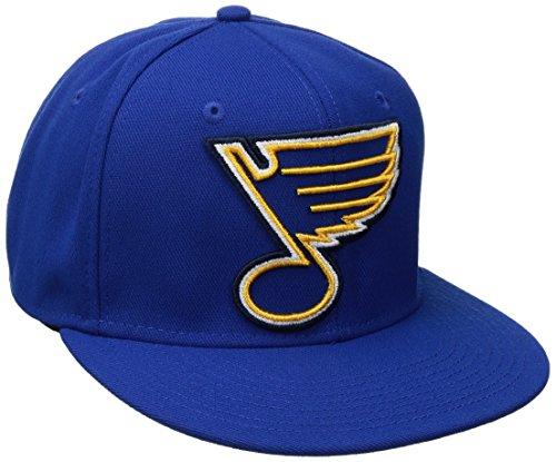 - NHL St. Louis Blues Men's SP17 Oversized Logo Flat Visor Flex Cap, Blue, Small/Medium