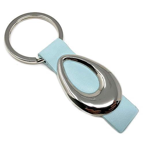 Llavero metálico enganche piel azul forma oval [3588 ...