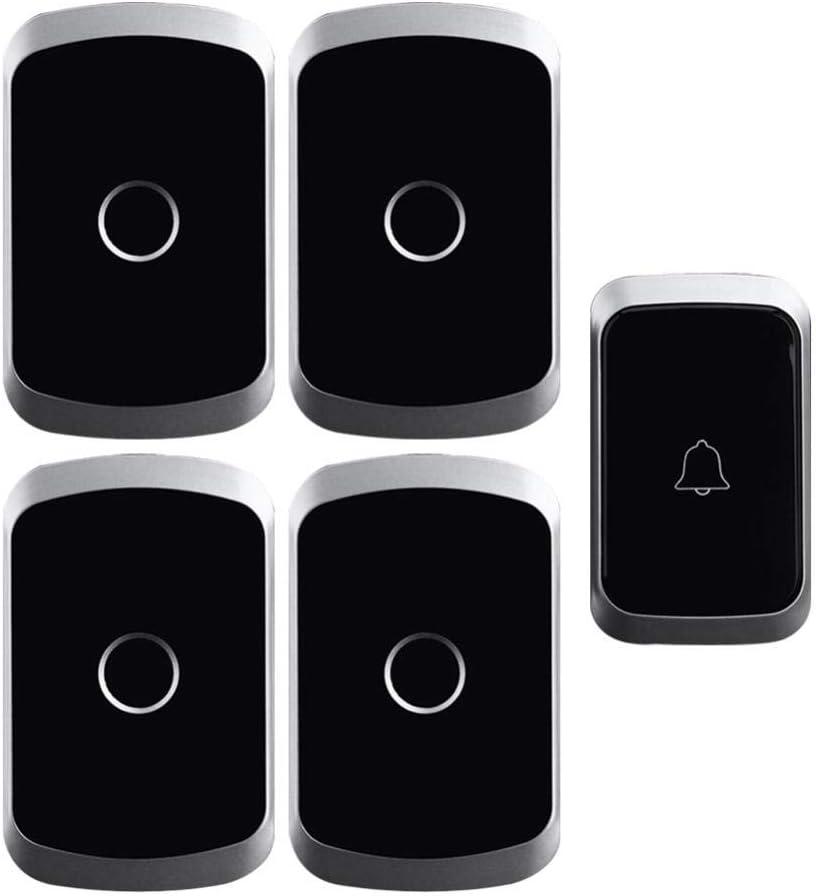 Ringdoors Conjunto De Timbre - Inalámbrico Inteligente A Prueba De Agua/Anti-Interferencia - 1 Transmisor + 4 Receptores, Rango De Trabajo De 300 M, 36 Melodías, 4 Volúmenes Ajustables (Negro)