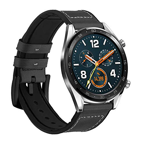 1660086a93954b LeafBoat Compatible Huawei GT Bands,Hybrid Rubber Leather Sports Sweat  Proof Silicone Vintage Replacement Band Huawei GT smartwatch (Black)