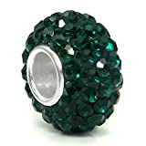 Metal Factory (1 Pc) Dark Green Crystal Ball Bead Sterling Silver Charm