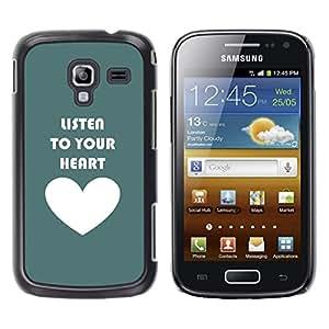 Stuss Case / Funda Carcasa protectora - Listen To Your Heart Teal Love White - Samsung Galaxy Ace 2 I8160 Ace II X S7560M