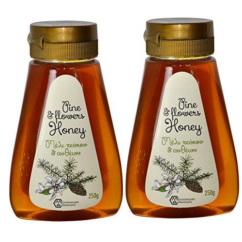 2 x Pinien und Blüten Honig von Rhodos 250 Gramm PET-Drückflasche