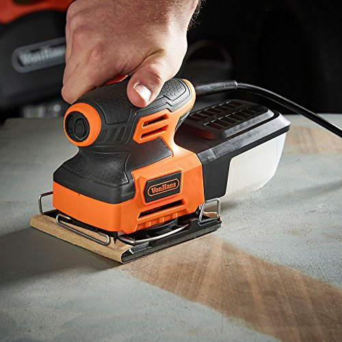 VonHaus 2.2 Amp 1/4 Sheet Palm Sander Kit with 15000 RPM, Fast Clamping System, Dust Collector and 5 Sandpaper Sheets - Ideal for Detailed Sanding by VonHaus (Image #1)