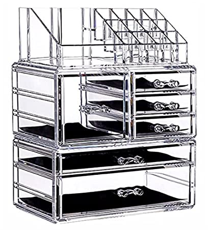 Superbe Cq Acrylic 6 Drawers And 16 Grid Makeup Organizer With Cosmetic Storage  Cases, The Top