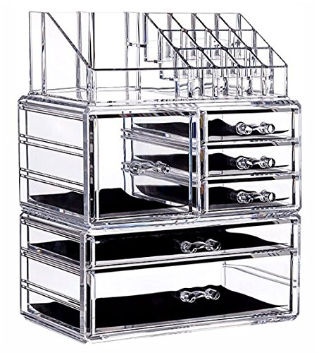 (Cq acrylic 6 Drawers and 16 Grid Makeup Organizer with Cosmetic Storage Cases, The Top of The Almighty as a Display Make-up Brush and Lipstick Holder,Clear 2 Piece Set)