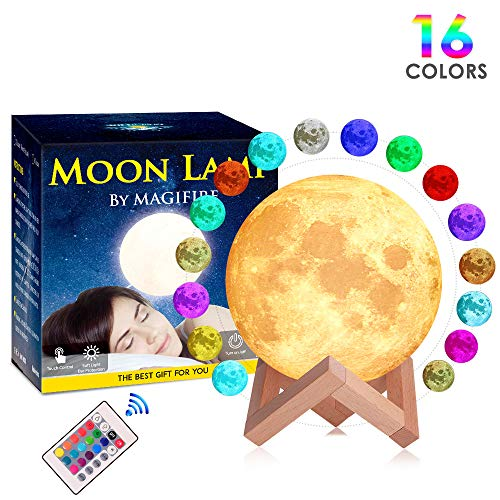 Night Light, Magifire 3D Moon Lamp 16 Colors Remote&Tap Control Dimmable Moon Light with Wooden Stand USB Charging Cable for Home Decoration Kids Birthday Gift Valentine's Day(3.94 inch/10 ()