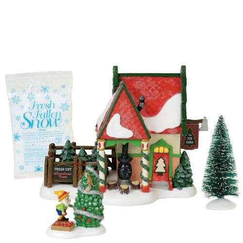 Department 56 North Pole Village Series The Fir Farm Lit Building and Accessories, 6