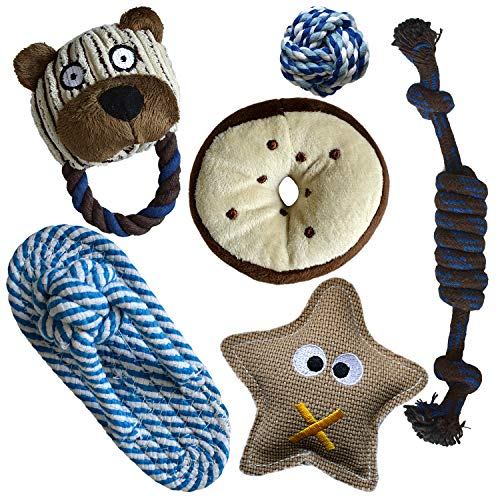Alvi & Remi Squeaky Plush and Rope Chew Toys Set for Puppies Small Medium Dogs