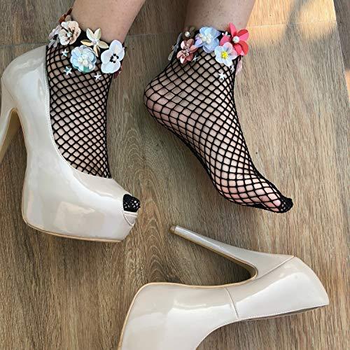 - Dark Daze Embellished Fishnet Socks | 3D Flower Vintage socks | Flower Wedding Bridal Socks | Party Socks