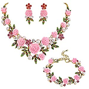 EVER FAITH Crystal Simulated Pearl Prom Rose Flower Leaf Necklace Earrings Bracelet Set Pink Gold-Tone