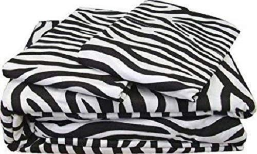 Whasmos Decor Egyptian Cotton 650-Thread-Count Ultra Soft Luxurious 6-Piece Bed Sheet Set, (1 Fitted Sheet+11 Inch Drop,1 Flat Sheet & 4 Pillow Case) Zebra Print Olympic Queen Size 11 Piece Queen Zebra