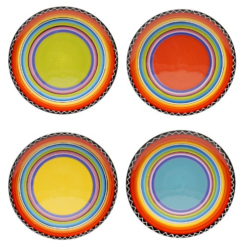 Certified International Tequila Sunrise Salad/Dessert Plate, 9-Inch, Assorted Designs, Set of 4 ()