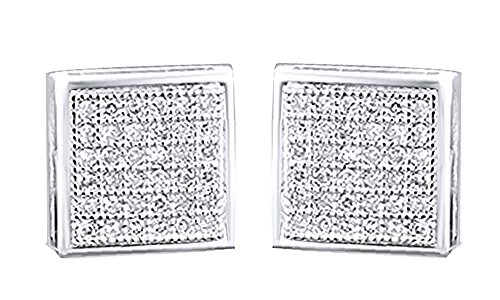 10K Solid White Gold Pave Set White Real Diamond Hip Hop Stud Earrings (0.18 Cttw) by wishrocks