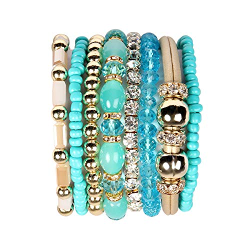 RIAH FASHION Multi Layer Strand Sparkly Stack Bracelets - Rhinestone Crystal Colorful Beaded Statement Stretch Adjustable Bangle Set (Leatherette Mix - Turquoise) ()