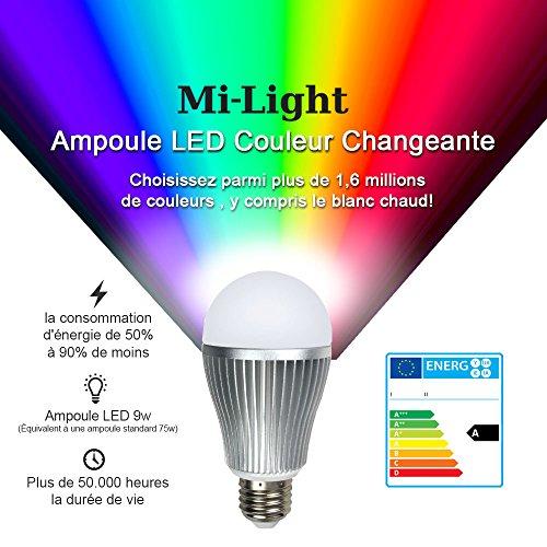 Expansion Mi-Ampoule: E27 LED 9W 1,6 million de couleur blanc chaud Ampoule pour Mi-Light peut être obscurci Wi-Fi, 2.4Ghz RF à distance, Android et iPhone Control System [Classe énergétique A]