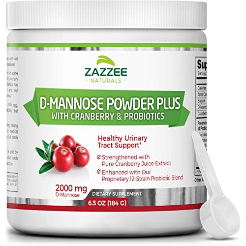 Zazzee D-Mannose Powder Plus, 67 Servings, 6.5 Ounces, Plus 5 Billion CFU Probiotics, Enhanced with Pure Cranberry Juice, Includes Free Scoop, Fast-Acting, Vegan, Non-GMO and All-Natural