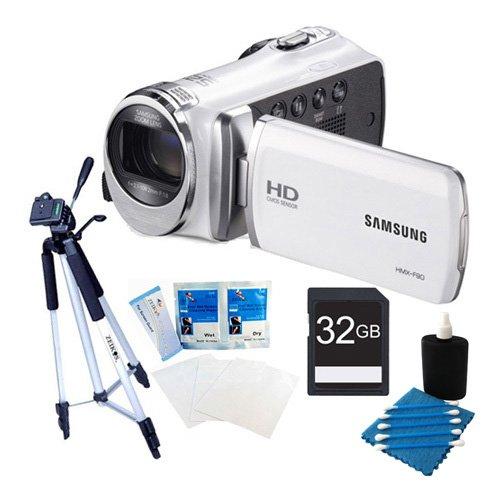 Samsung HMX-F90 Flash Memory HD Digital Video Camcorder (White) 32GB Deluxe Bundle