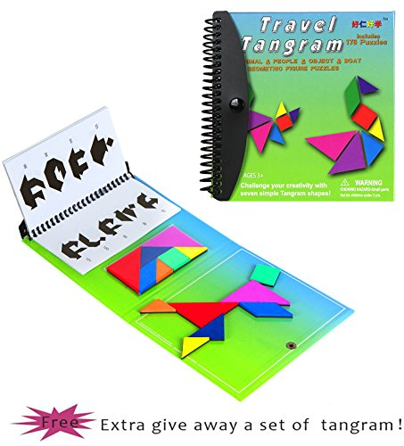 Tangram Game Travel Games Magnetic Green 176 Puzzle Travel Tangrams with Question Solution Answer Kid Adult Challenge IQ Book Colorful Educational Toy For 3-100 Years Old 【2 set of Tangrams】 Magnetic Brain Teaser