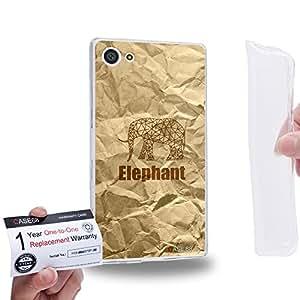 Case88 [Sony Xperia Z5 Compact / Mini] Gel TPU Carcasa/Funda & Tarjeta de garantía - Art Hand Drawing Paper Bag Texture Hipster Elephant 2159