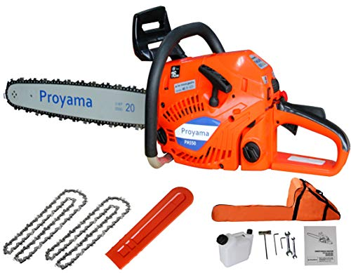 Proyama 52cc 20 Inch Gas Chainsaw with Two Chains & Carrying Bag