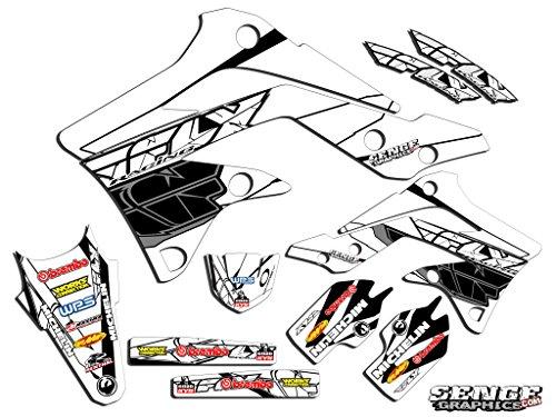 Senge Graphics Senge Graphics kit compatible with Kawasaki 2003-2012 KX 125/250 (2-STROKE), Fly Racing White Graphics Kit (05 Kx 250 Graphics)