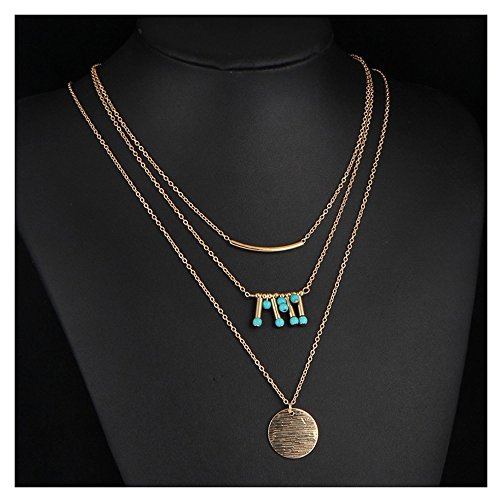 Spring Deer Charm Fashion Women's Multi Layered Metal Disc and Blue Turquoise Colored Stone Bead Fashion Necklace Gold Tone (Gold (Turquoise Disc)