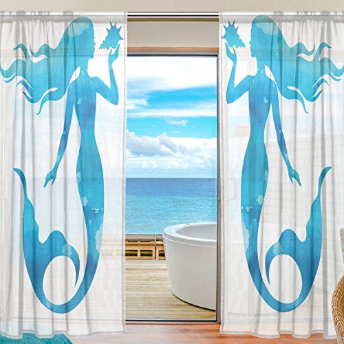 SEULIFE Window Sheer Curtain, Ocean Sea Animal Mermaid Pattern Voile Curtain Drapes for Door Kitchen Living Room Bedroom 55x78 inches 2 Panels by SEULIFE