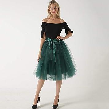 QYYDBSQ Moda Largo Tutu Faldas de Tul para Mujer Falda Plisada ...