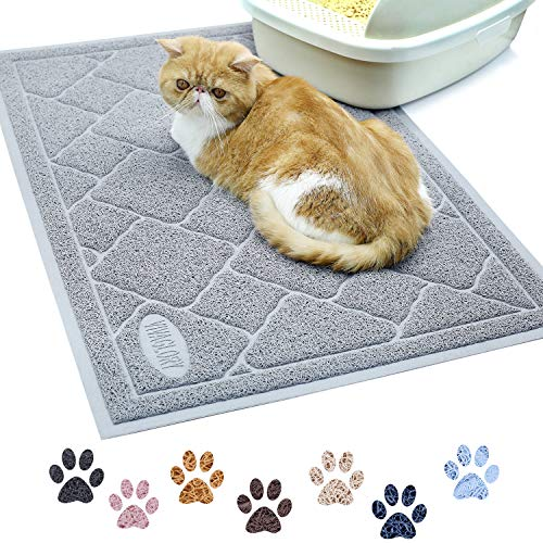 Vivaglory Litter Box Mat with Scatter Control, Phthalate Free, Durable & Large (35'×23') Litter Mat, Soft on Paws, Easy to Clean, Grey