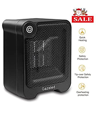 Ceramic Portable Electric Heater, Mini Space Heater with Overheating & Tip-Over Protection & Cool Touch Housing for Desk Floor Office Home Use(500 Watts)