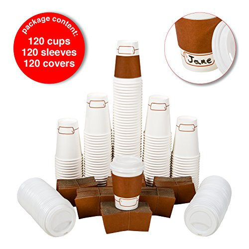 120 Disposable Paper Coffee Cups Set, 12 oz With Travel Lids and Sleeves, With Name Area for Personalization, Eco-Friendly, Cups for Hot/Cold Drinks, Coffee Tea Chocolate, To Go Coffee Cup.