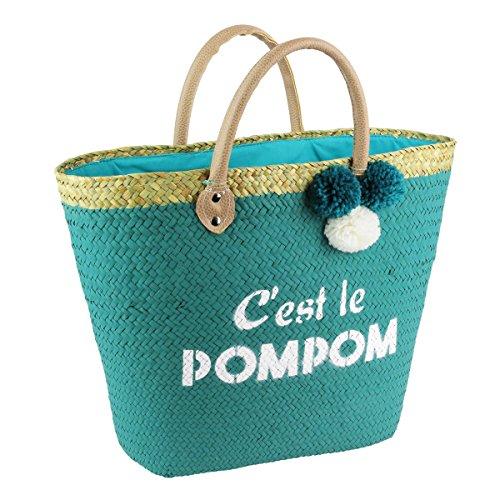 Les Trésors De Lily [Q1177] - Bolsa de playa 'C'est Le Pompom' verde - 50x28 cm.