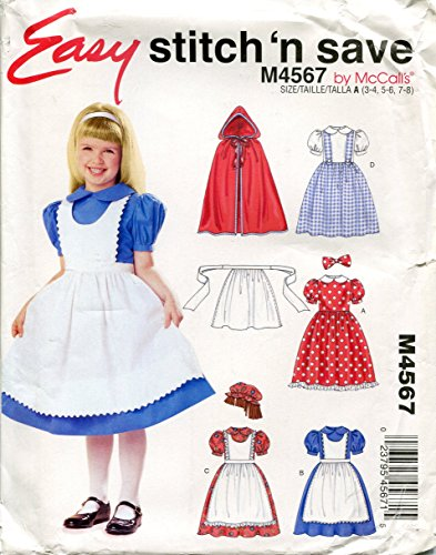 McCall's Easy Stitch 'n Save Pattern M4567 Girls' Storybook Costumes, Size A (3-4, 5-6, (Storybook Costumes Easy)