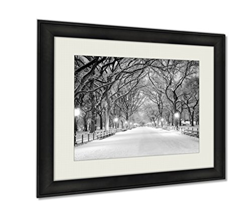 Ashley Framed Prints, Central Park Ny Covered In Snow At Dawn Wall Art Decor Giclee Photo Print In Black Wood Frame, Soft White Matte, Ready to hang, 24x30 - Mall City America New York Of