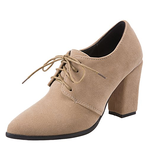 Latasa Womens Lace-up Block High Heel Shoes Apricot bRcLIxkA