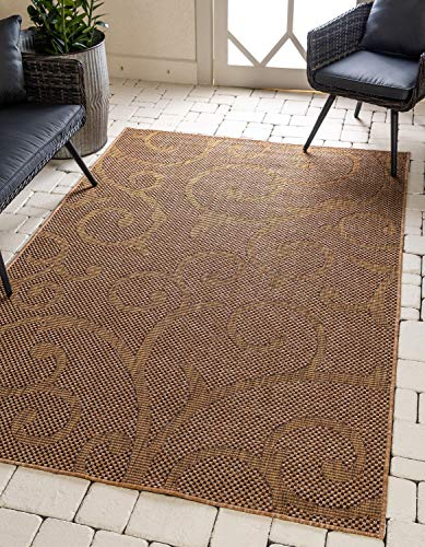 Unique Loom Outdoor Botanical Collection Abstract Swirls Transitional Indoor and Outdoor Flatweave Light Brown  Area Rug (4' 0 x 6' 0)