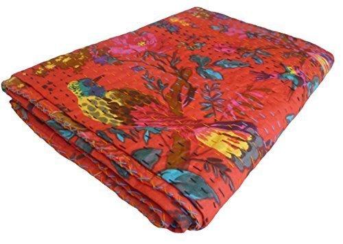 Bird Print King Size Kantha Quilt RED , Kantha Blanket, Bed Cover, King Kantha bedspread, Bohemian Bedding Kantha Size 90 Inch x 108 Inch
