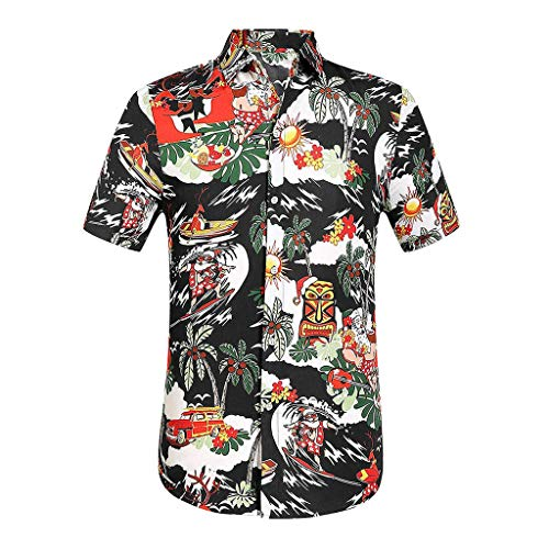 Men's Flower Printed Button Down Short Sleeve Hawaiian Shirt Casual Slim Fit Beach Shirts Tops Blouse tees Black