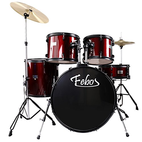 febos-fbs-10-wr-full-size-adult-drum-sets-5-piece-with-cymbals-pedal-throne-drumsticks-wine-red