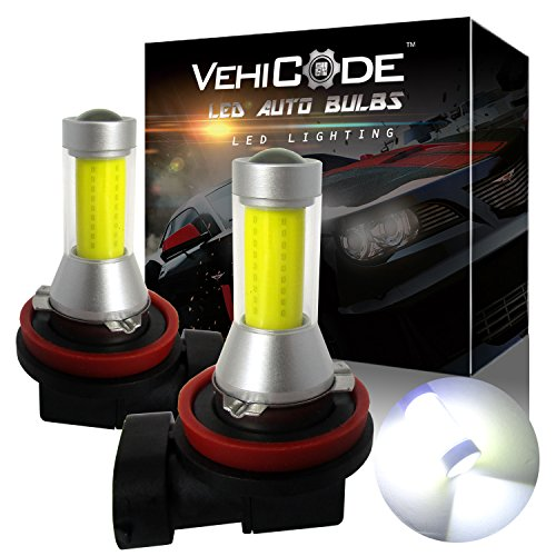 VehiCode Super Bright 2000 Lumens H11 H9 H8 H16 (Type 2) (6000K White) LED Fog Light Bulbs/DRL Conversion Kit - High Power COB - 360 Degree Projector Fanless Plug-N-Play Replacement (2 Pack)