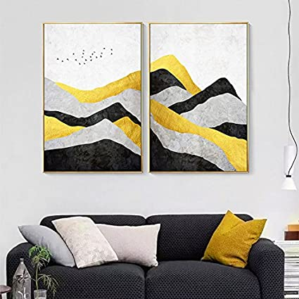 Amazon.com: Abstract Geometry Mountain Canvas Print, Wall Art ...