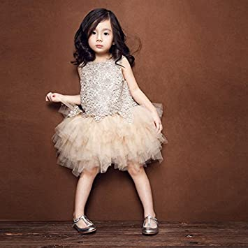 2915b72fd Verano Flores de Encaje para Bebé vestido de princesa de fiesta sin mangas  Patchwork ropa champán Talla:M: Amazon.es: Bebé