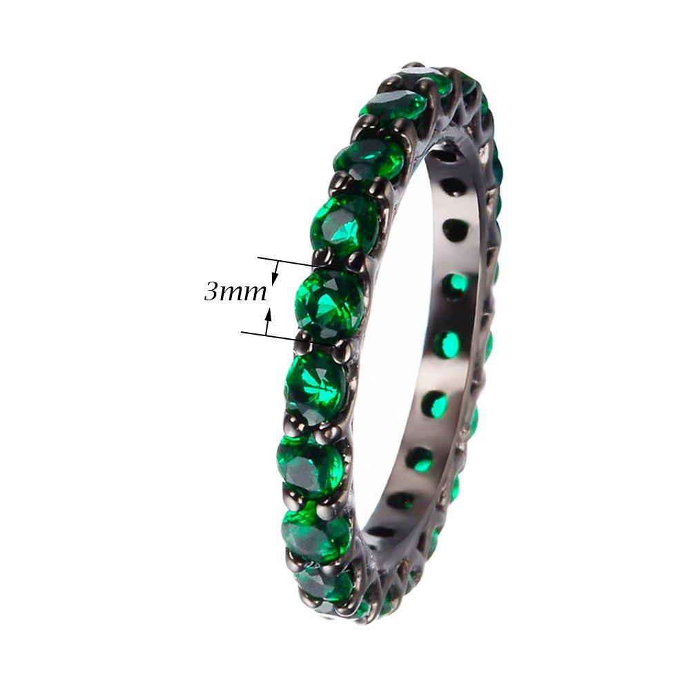 junxin 3 mm oro negro redondo verde esmeralda piedra anillo - boda banda: Amazon.es: Joyería