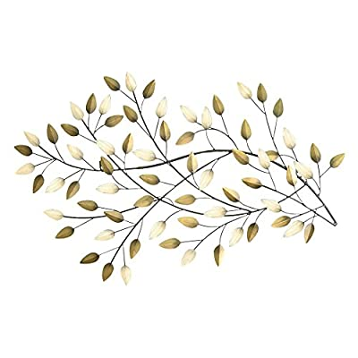 Stratton Home Blowing Leaves Wall Sculpture - Dimensions: 32W x 1D x 20H in. For indoor use Crafted out of metal - living-room-decor, living-room, home-decor - 51%2BvUuLr0oL. SS400  -