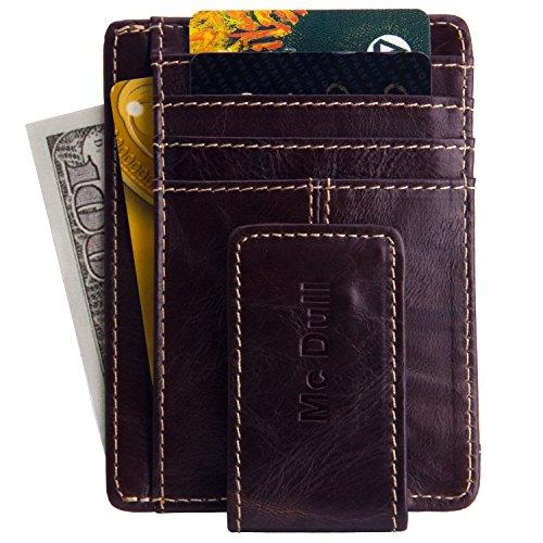 Money Clip Wallet-Mens Genuine Leather Magnet Front Pocket Wallet RFID Blocking