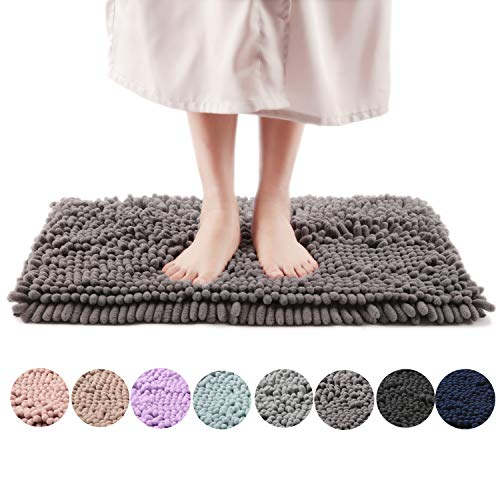 Bath Chenille Rugs - Freshmint Chenille Bath Rugs Extra Soft Fluffy and Absorbent Microfiber Shag Rug, Non-Slip Runner Carpet for Tub Bathroom Shower Mat, Machine-Washable Durable Thick Area Rugs (16.5