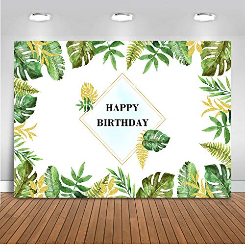 Mocsicka Spring Theme Happy Birthday Backdrop 7x5ft Green Leaves Tropical Birthday Kids Birthday Party Banner Photo Studio Prop Greenery 1st Birthday Photography Background
