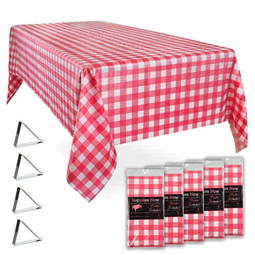 "Red and White Checkered 54"" x 108"" Disposable Plastic Tablecloths Set Includes 5 Gingham Plastic Table Covers and 20 Stainless Steel Clips (25 Pieces)"